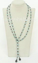 """Baroque 52"""" 8mm light blue freshwater pearls necklace j10463"""
