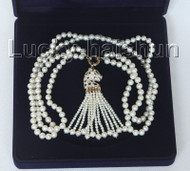 "natural 26"" 8mm 2row white round pearls leopard contour necklace j10479"