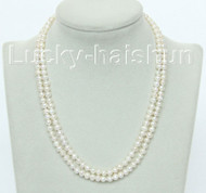 """natural 16"""" 2row white round freshwater pearls necklace 925 silver clasp j10483"""