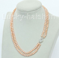 """natural 16"""" 2row pink round freshwater pearls necklace 925 silver clasp j10485"""