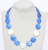 "18"" 20mm coin white pearls blue seashell necklace j10490"