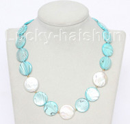 "18"" 20mm coin white pearls sky-blue seashell necklace j10493"