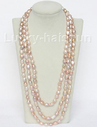 """natural 78"""" 12mm baroque purple freshwater pearls necklace j10502"""