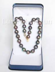 "GIANT natural baroque 20"" 18mm peacock black Reborn keshi pearls necklace j10564"
