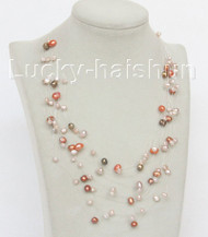 "17"" 10row Baroque Multicolor freshwater pearls necklace 18KGP j10615"
