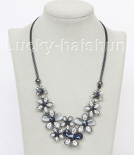 "17""-19"" baroque flower faceted navy blue crystal necklace j10648"