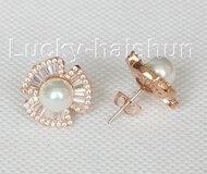 Stud 17mm white flower south sea shell pearls Earrings rose gold plated j10658