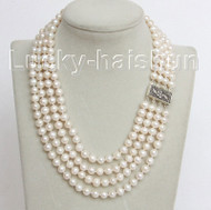 "16"" 4 Strand 8mm white FW pearls necklace 925 silver clasp j10682"