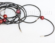 wholesale 10 piece 11mm wine red FW pearls Black leather bracelet j10716
