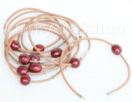 wholesale 10 piece 11mm wine red FW pearls khaki leather bracelet j10727