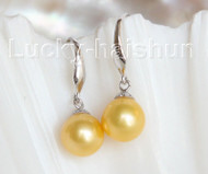 AAAA Dangle 8.5MM ROUND GOLDEN SOUTH SEA PEARL EARRING 925SC hook j10761