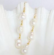 luster natural Dangle twin 12mm white Reborn keshi pearl Earrings 14K gold j10762