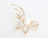 """stylish 2.2""""X1"""" flower shape white south sea shell pearls Brooch gold plated j10766"""