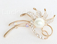 """3""""X1.5"""" flower shape white south sea shell pearls Brooch gold plated j10767"""