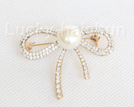 "2""X1.5"" 13mm bowknot white freshwater pearls Brooch gold plated j10769"