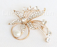 "2""X2"" flower white south sea shell pearls Brooch gold plated j10770"