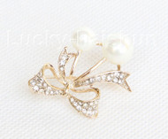 "1""X1.2"" bowknot white south sea shell pearls Brooch crystal gold plated j10777"