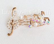"2""X1.5"" musical note shape white south sea shell pearls Brooch crystal gold plated j10779"