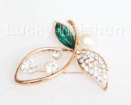 "2""X1"" flower white south sea shell pearls green crystal Brooch gold plated j10781"