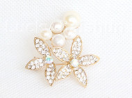 "1.5""X1.5"" flower white south sea shell pearls Brooch gold plated j10782"