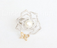 "1.5"" white south sea shell pearls scarves clasp ring Platinum Plated j10784"