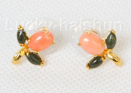 AAA natural 14X15mm pink coral green jade Earrings j10791A160