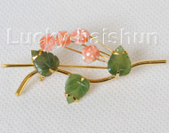 """AAA natural carved 2.1""""X1.3"""" pink coral green jade brooch j10806A160"""