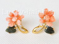 AAA natural carved 22X18mm pink coral green jade Earrings j10821A200