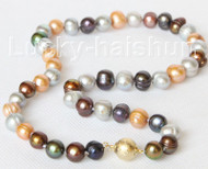 "17"" 10mm baroque Multicolor FW pearls necklace gold plated clasp j10838"