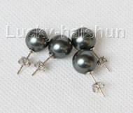 Stud 2 piece 10mm black south sea shell pearls Earrings  j10960