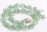 "17"" 16mm coin twist green jade necklace 18KGP j10983"