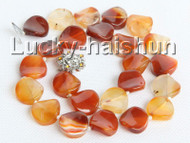 "17"" 16mm coin twist red carnelian necklace 18KGP j10984"
