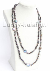 """48"""" Baroque coin black freshwater pearls necklace j10990"""