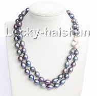 """Baroque 17-18"""" 13mm black freshwater pearls necklace j10994"""