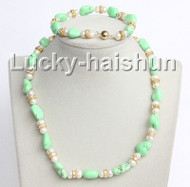 "Genuine 17"" 8"" green turquoise white pearls necklace bracelet set j10998"