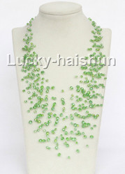 "17"" 18row Baroque light green crystal necklace j11036"
