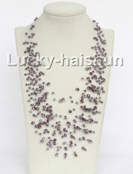 "17"" 18row Baroque purple crystal necklace j11038"