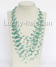 "17"" 18row Baroque green crystal necklace j11041"