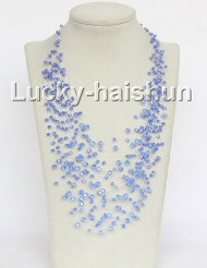 "17"" 18row Baroque blue crystal necklace j11042"