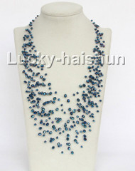 "17"" 18row Baroque dark blue crystal necklace j11044"
