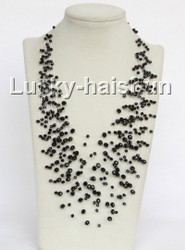 "17"" 18row Baroque black crystal necklace j11046"