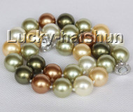 "17"" 14mm round green yellow coffee south sea shell pearls necklace magnet clasp j11049"