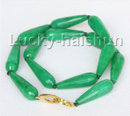 "strand 17"" 10X30mm faceted drip green jade necklace j11064"