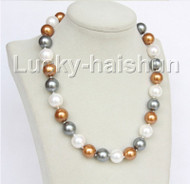 "18"" 14mm round white coffee gray Multicolor south sea shell pearls necklace j11075"