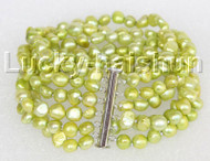 "8"" 8mm 6row Baroque light green pearls bracelet magnet clasp j11113"
