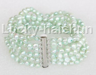 "8"" 8mm 6row Baroque light green pearls bracelet magnet clasp j11118"