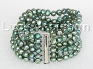 "8"" 8mm 6row Baroque green pearls bracelet magnet clasp j11125"