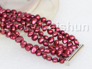 "8"" 8mm 6row Baroque wine red pearls bracelet magnet clasp j11128"