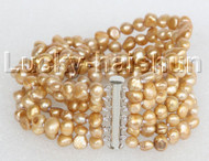 "8"" 8mm 6row Baroque champagne pearls bracelet magnet clasp j11129"