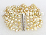 "8"" 8mm 6row Baroque light champagne pearls bracelet magnet clasp j11130"
